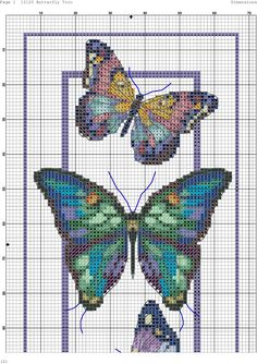 Butterfly cross stitch and chart.
