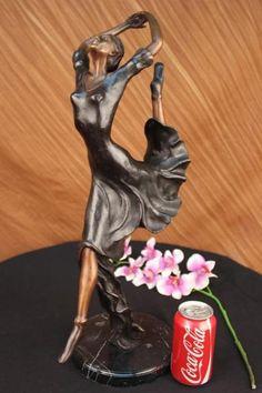 Bronzioni 84077MBronze Modern Vintage Art Deco Sculpture Female Dancer Metal Statue Hotcast Sale