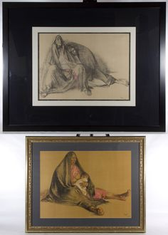 """Lot 707: Unknown Artist (20th Century) """"Native Americans"""" Drawings; 1974, signed lower right, each depicting seated Native Americans"""