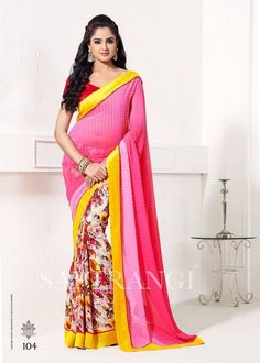 Saptrangi Faux Georgette Pink Designer Half N Half Saree Pallu Fabric: Bamberg Poly Georgette, Digital Print. Skirt Fabric: Bamberg Poly Georgette, Catonic Butti. Border Fabric: Pure Heavy Silk. Blouse Fabric; Pure Heavy Silk & Soft Rasal Net