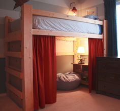 Perfect Bedroom Interior with Loft Bed and Wooden Frame Idea also Red Curtains also Wooden Drawer and White Bed also Table Lamp and White Wall Paint Color and Ottoman Design