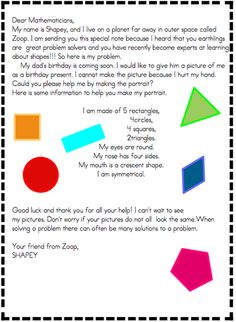 Great idea for a geometry lesson! Students must create a portrait of an alien using the specified shapes. Be sure to check out the student examples in this post.