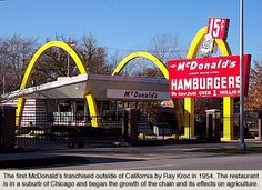 First McDonald's franchise outside California, opened by Ray Kroc 1954.  (example of kit, not model.   See Patton. Arches, Vital forms)