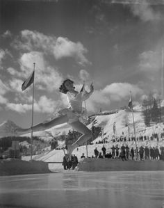 1948 Olympics, St. Moritz, Switzerland.  British figure skater Jeannette Altwegg. She won bronze but would win gold in 1952; she's the only British woman to ever win multiple winter medals.