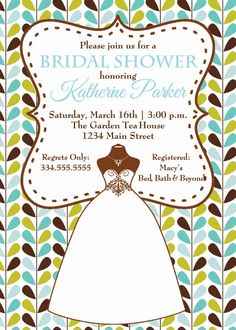 Retro Teal and Brown Bridal Shower Invitation by TheProgramChick, $8.90