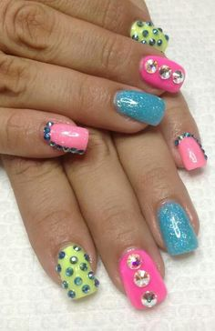 Cute, cool colors for summer with tons of bling