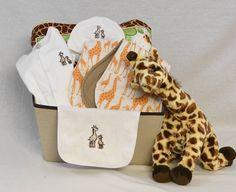 Baby girl clothing gift basket elephant baby girl basket elephant giraffe themed baby gift basket unisex baby gift unisex baby gift basket baby negle Images