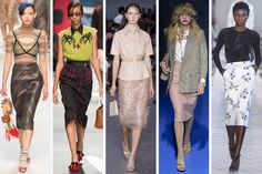 FALDA LAPIZ_MILAN SS18 (L-R): Fendi, Prada, No. 21, Gucci and Max Mara. Photos: Imaxtree