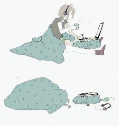 Image via We Heart It #anime #bed #computer #food #girl #japan #kawaii #manga #music #room #sleeping #mangagirls #love #animegirls
