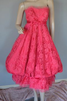 Gorgeous Harvey Bernin Karen Stark Couture Party Dress Lace Satin Silk Coral Dark Pink S 1950's by luvkitsch on Etsy Vintage Party Dresses, Vintage Outfits, Dress Lace, Vintage Pink, Silk Satin, Vintage Clothing, 1950s