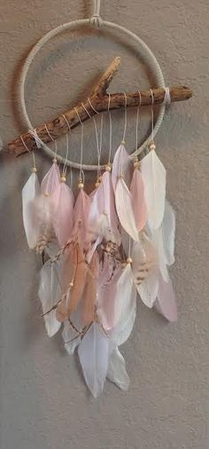 feather dream catcher, bohemian - feathers found on beach and add shells