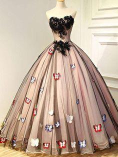 Ball Gown Sweetheart Floor-length Sleeveless Tulle Prom Dress/Evening Dress # VB986