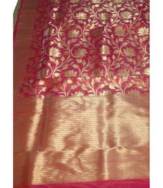 Red Banarasi Handloom linen Silk Saree--------Banarasi silk sarees are famous because of their colours and texture. These sarees often have heavy golden embroidery and are popular bridal sarees all over India.--------Sarees from luxurionworld.com