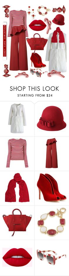 """""""Candy Cane Christmas"""" by hollybgdesigns ❤ liked on Polyvore featuring Chicwish, Sonia Rykiel, Rosie Assoulin, Magaschoni, Gianvito Rossi, CÉLINE, 1st & Gorgeous by Carolee, Dolce&Gabbana, White Label and Christmas"""
