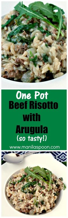 Creamy, cheesy, yummy one pot dish Beef Risotto with Arugula (Rocket). Great as a side dish or on its own.