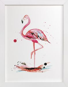 Pink Flamingo watercolor painting by Kelsey McNatt for Minted
