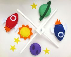 Felt Pattern. Space Mobile Sewing Pattern PDF. Instant instructions to make rocket and planets mobile.