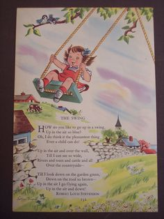 And a little white church in the background!  Robert Louis Stevenson Nursery Rhyme Poem, 1948 vintage Children's book print illustration - The Swing. $9.00, via Etsy.