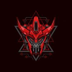 Red knight robot illustration Premium Ve. Mask Design, Design Art, Assassin Logo, Robot Logo, Gundam Art, Gundam Head, Metal Gear Rising, Fire Image, Robot Illustration