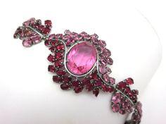 Czech Bracelet - Pink Fuchsia Glass Two Toned Costume Jewelry