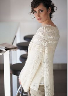 Loose Textured Sweater Knitting pattern by Jo Sharp Sweater Knitting Patterns, Knit Patterns, Free Knitting, Knitting Sweaters, Cardigan Pattern, Handgestrickte Pullover, Knit Or Crochet, Mode Style, Pulls
