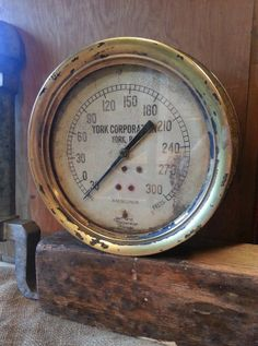 Vintage 9 & 1/2 inch Pressure Gauge - Large Brass and Cast Iron Vacuum Dial