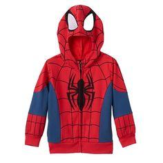 Toddler Boy Marvel Spider-Man Hoodie with Mesh Eyes, Size: