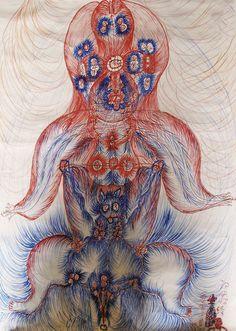Guo Fengyi - Diagram of the Body's Meridians (colored ink on paper, Outsider Art, Art Cobra, Art Dégénéré, Augustin Lesage, Art Visionnaire, Degenerate Art, Esoteric Art, Buddhist Meditation, Occult Art