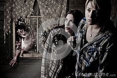 © Jandrie Lombard   Dreamstime.com- Two adventuous girls and a zombie hiding in the background