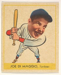 Issued by the Goudey Gum Company (American, Boston, Massachusetts). Joe DiMaggio, New York Yankees, from the Heads-Up series (R323) issued by the Goudey Gum Company,1938. The Metropolitan Museum of Art, New York. The Jefferson R. Burdick Collection, Gift of Jefferson R. Burdick (Burdick 325, R323.10) #newyork #nyc