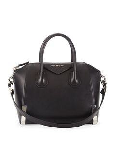 Givenchy Antigona Small Waxy Leather Satchel Bag, Black