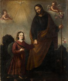 Spanish School —   Saint Joseph and Child , 17th Century (800x957)