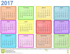 Calendar 2017 Holidays Usa Federal Holidays In Usa In 2017 Office Holidays Calendar 2017 With Colorful Fields Per Month And Holidays Usa Stock