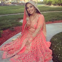 Our beautiful customer, Mojghan, shared this image of her wearing our Designer Coral Banarsi Brocade Anarkali ($215 USD at www.lashkaraa.com) on the #Lashkaraa hashtag on IG! She looks simply breathtaking!