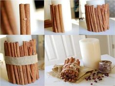 Make an awesome cinnamon candle to bring a wonderful scent in your home. Using a glue gun put glue on the cinnamon sticks and start gluing the stick tot he simple, white candle. Its good to know that the glue wont hold the cinnamon stick to the candle forever. When the candle start burning the …