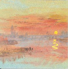 Turner - Uma cidade à beira de um  rio ao pôr do Sol, c. 1833