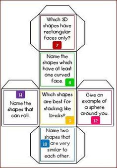 Free 3D Shape Trivia Cubes with Worksheet and answer key #math