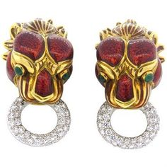 David Webb Enamel Emerald 1.80ctw Diamond 18k Gold Platinum Earrings