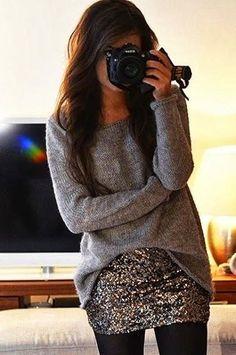 Sweater Zara, skirt VeroModa, earrings H&M