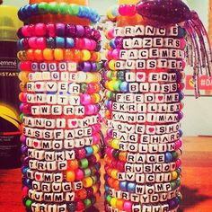 10 custom rave kandi bracelets. You can choose any phrase and colors! by LoukiBoutique on Etsy