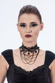 Queen of Darkness - Gothic Collier mit Kunstperlen und Ketten