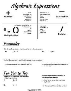writing algebraic expressions activity Children practice writing algebraic expressions with this printable.