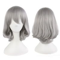 Harajuku Silver Gray Wig Medium Long Silky Straight Fluffy Hair Cosplay Lady Wig