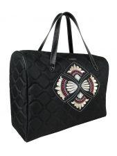 A big shoulder travel bag DESTINY (cream-burgundy-coloured)