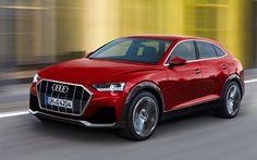 Lataa kuva Audi Q4, 4k, 2018 autoja, tie, saksan autoja, punainen q4, Audi
