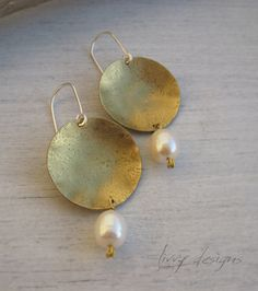 Hammered/Textured Earrings {Brass, Freshwater Pearls,Sterling Silver}