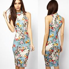 Chi-pao Style Women's Sexy Wrap Bodycon Dress Summer Casual Vintage Floral Dress #Unbranded #StretchBodycon #SummerBeach