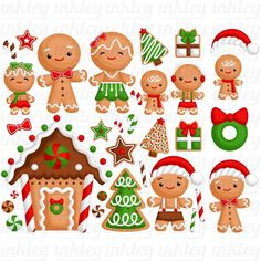 Gingerbread Family Clipart - Christmas Cookies in Winter Clip Art - Holiday Season - Free SVG on Request Christmas Games For Family, Christmas Time, Christmas Crafts, Christmas Decorations, Christmas Stuff, Holiday Decor, Christmas Clipart, Christmas Printables, Free Christmas Clip Art