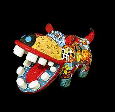 Subscribe to my boards to see my new artwork. 3D Gif image Happy Art ceramics majolica Animal Statuette of a hippopotamus, gift see a dentist, big hippopotamus, hippo sculpture, statuette of hippo, bright African style, painted hippo