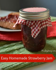 Easy Strawberry Jam Recipe - Thrifty Jinxy This jam is oh-so-good and easy to make too. It only has a few simple ingredients and will make any strawberry-lover smile!